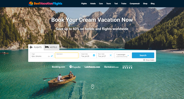 BestVacationFlights.com - Automated Travel Site For Passive Income, Earn Up To $10k/mo on Flights, Hotels