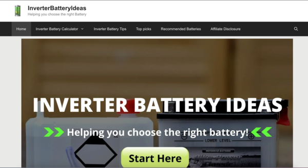 InverterBatteryIdeas - Inverterbatteryideas.com is an Amazon affiliate review blog about inverter batteries. A starter website and has generated 3 sales in just 3 months.