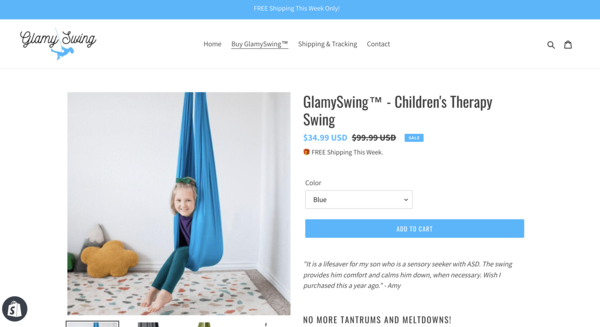 Glamy Swing - This is an Ecommerce Shopify Starter Store For Sale Specialising in the Parenting Niche. A proven winner with amazing past selling data.