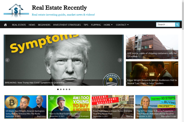 RealEstateRecently.com - Real Estate Investment- Fully Automated - Ad Income - BIN Bonus