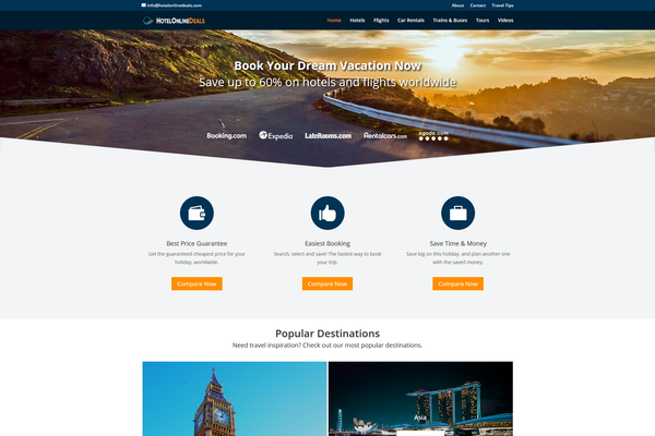 HotelOnlineDeals.com - AUTOMATED TRAVEL Affiliate Site - Unlimited Potential - FREE HOSTING