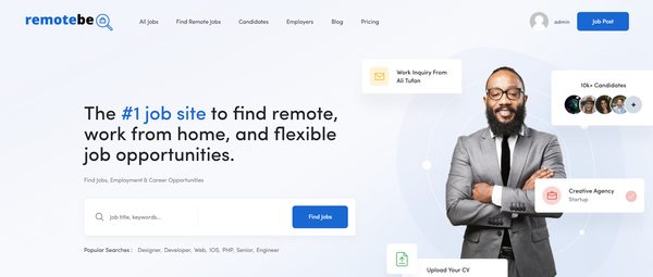 remotebe.com - Remote Job Portal with Premium Design. Newblie Friendly. Earn up to 10k$ / month