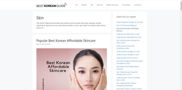 Best Korean Guide - 2.5 Yrs Old Amazon Associates Monetised Beauty Micro Niche Website WIth Huge Potential - 2.5k Organic Consistent Page Views Per Month.