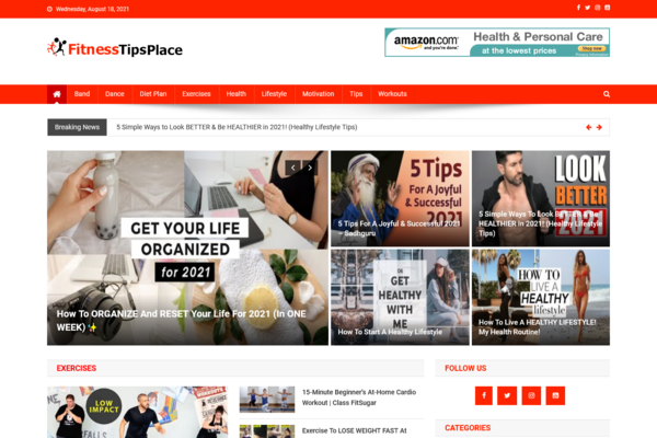 FitnessTipsPlace.com - 100% Automated Fitness Site - Great Profitable - No Exp. Needed - Huge Bonuses!