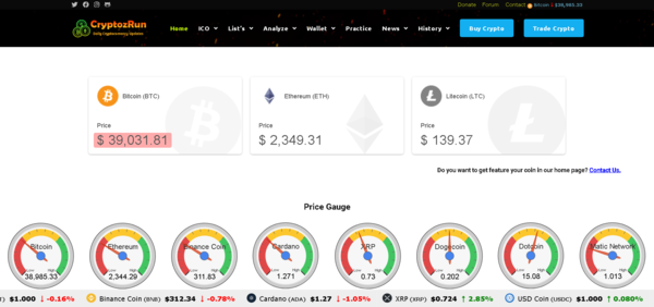 CryptozRun.com - Crypto is Booming - 100% Automated Cryptocurrency Live Price Index, News & Tools