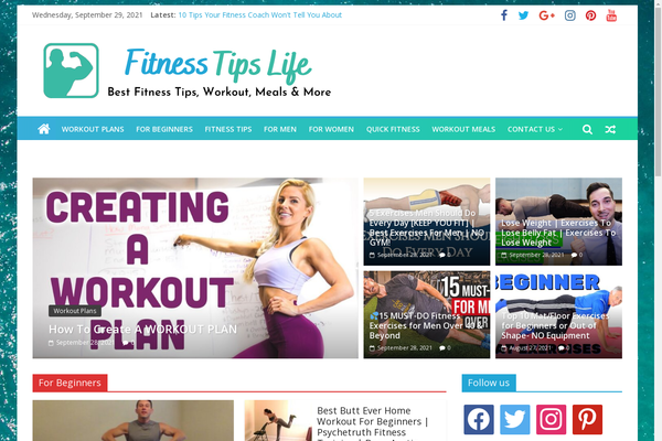 FitnessTipsLife.com - Fitness Tips & Workout - Killer Design - Fully Automated - 1 Extra site Or 1 Year free hosting for BIN + Bonuses - Amazon & Clickbank Income