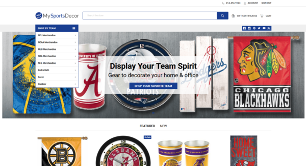 MySportsDecor.com - 14-year-old business selling college & pro team merchandise to sports fans. Includes 2 online stores (BigCommerce) & 3 blogs with content (Wordpress).