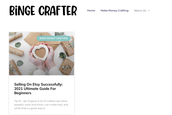 Binge Crafter - A neglected expired domain (from 2015) with solid backlinks and BIG potential. Only needs articles & growth will come. Really the perfect starter site.