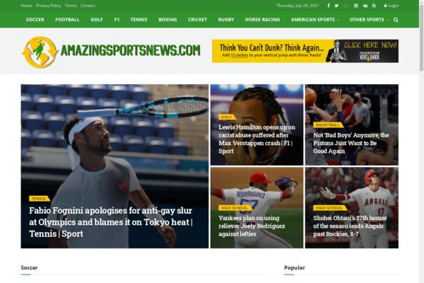 AmazingSportsNews.com - Fully Automated Sports News Site - Ready Ads - Free 2 Years Host BIN Bonus