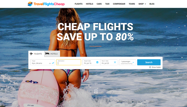 TravelFlightsCheap.com - Automated Travel Site For Passive Income, Earn Up To $10k/mo on Flights, Hotels