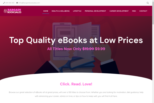 BargainBookSales.com - Fully Automated eBooks Store Loaded With Over 100 eBooks on Hot Selling Topics. No order handling! Newbie friendly business. Passive Income Potential.