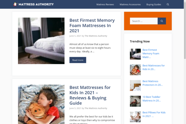 themattressauthority.net - Affiliate Marketing Site - Revenue Growth Potential