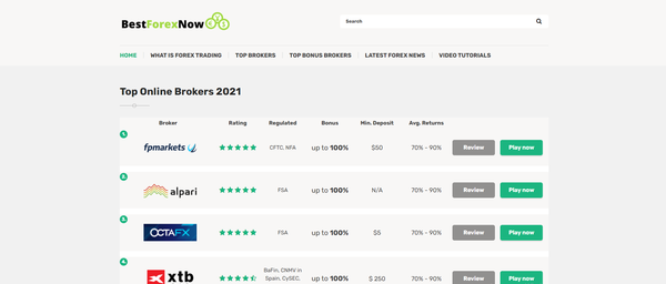 bestforexnow.com - Affiliate Review Forex Brokers Website - Potential to earn up to 10000 $ / month This website can earn you thousands per signup! High Commissions!