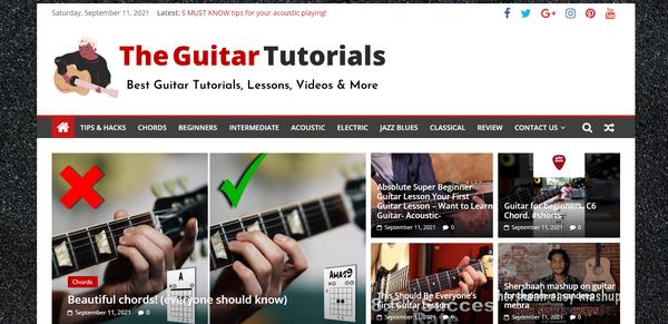 TheGuitarTutorials.com - Guitar Tutorials, Premium Design, 19K Backlinks, Domain value $1000, BIN Bonus
