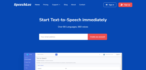 Speechlee - Text to Speech - SaaS Ready - Start Running your Text to Speech as a SAAS business like talkia.com and speechelo.com Over 80 Languages, 660 voices.