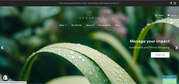 Sequela - A newly launched eco friendly, sustainable e commerce marketplace hosting Australian Brands. Dropshipping sales model.