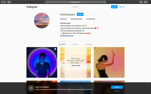 """Horizon Aura Website and Instagram - Shopify website & instagram account that has accumulated 10.2k followers in 6 days who are anticipating product launch. Selling trending """"Sunset Lamp""""."""