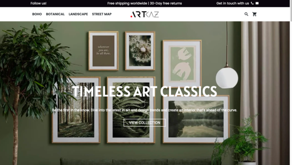 Artkaz.com - PREMIUM AUTOMATED  Canvas wall Art  store with 10,000 ready-to-sell products with 98-200% margins in profit, with valuable Self Branding domain