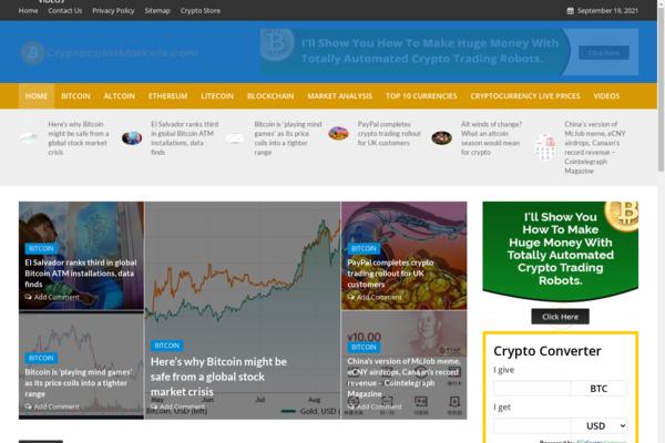 cryptocoinsmarkets.com - 100% Automated Crypto & Bitcoins Site - 2 Years Free Host BIN + Great Bonuses