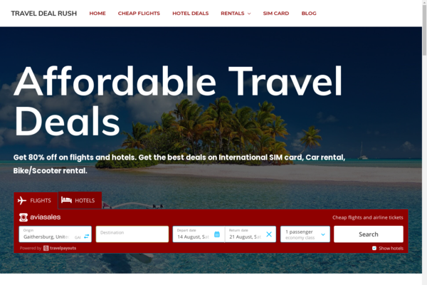 TravelDealRush.com - Automated Travel Website. $10K/month earning Potential. Affiliate business.