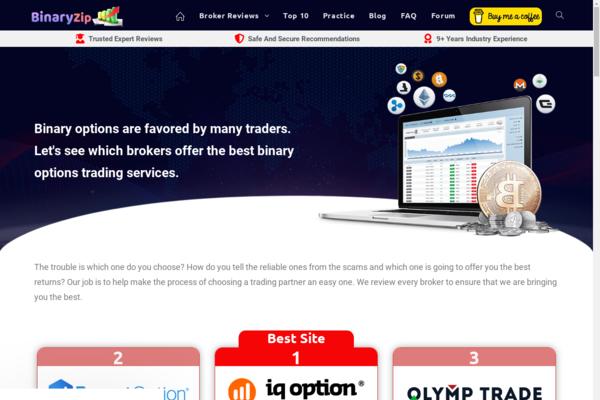 BinaryZip.com - Premium Binary Option Trading Review affiliate website - Trade Practice Widget