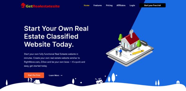 GetRealestateSite.com - Turnkey WaaS Business Providing Real-estate classified website in a minute