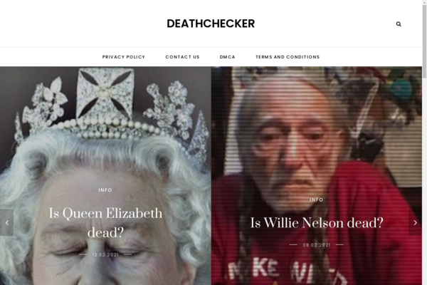 deathchecker.com - Site with information whether a person is alive or not in adsense