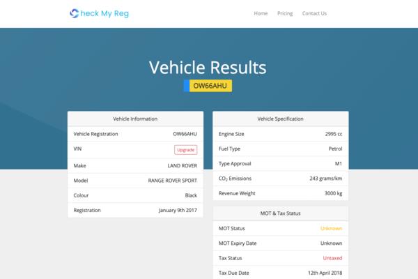 checkmyreg.com - e-Commerce / Automotive
