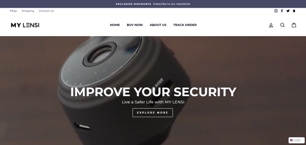 mylensi.com - Mini Security Camera Business | Branded Shopify One Product Store