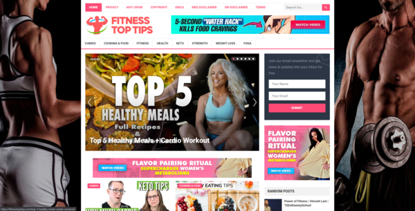 FitnessTopTips.com - Autopilot ClickBank Fitness & Health Blog To Make Money Online, Earn Up To $5k/m