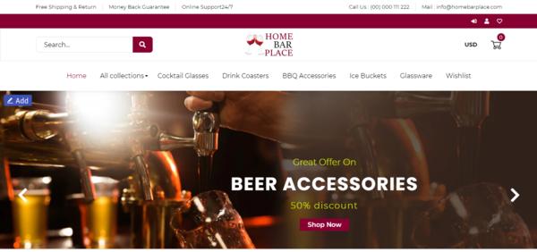 HomeBarPlace.com - Professionally Designed Automated Bar Products Store Domain Value $1,031 (USD)