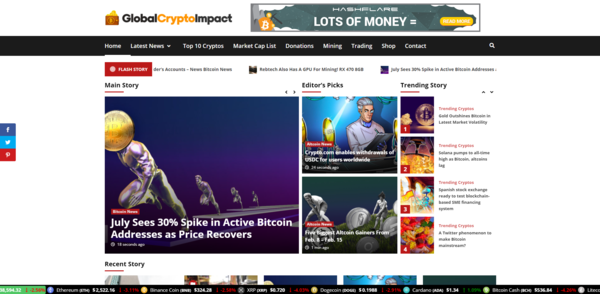 GlobalCryptoImpact.com - Autopilot Crypto Bitcoin News Magazine Blog To Make Money Online