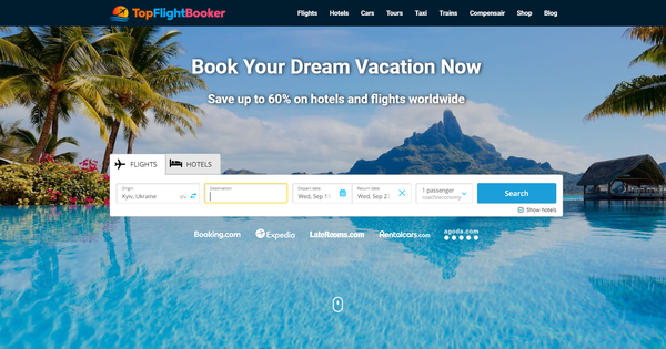 TopFlightBooker.com - Automated Travel Site For Passive Income, Earn Up To $10k/mo on Flights, Hotels