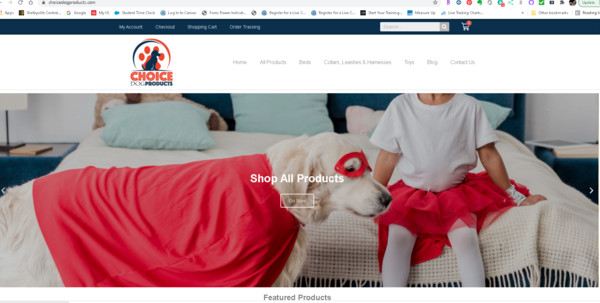 choicedogproducts.com - Ecommerce website and Domain and etools educational videos for the business.