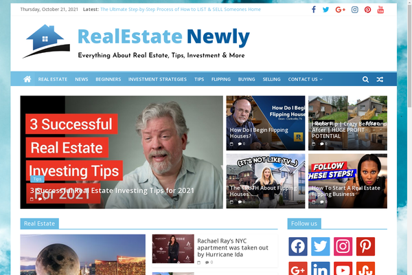 RealEstateNewly.com - Real Estate, News, Tips - Awesome Design - 100% Automated - 1 Extra site Or 1 Year free Hosting for BIN + Bonuses - Amazon & Clickbank Income.