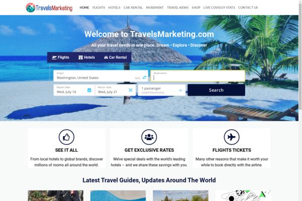 TravelsMarketing.com - PREMIUM Wordpress Travel Search & Booking Business- Flights, Hotels,Store & More