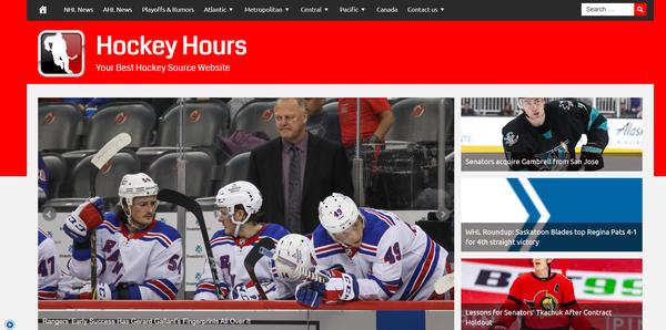 HockeyHours.com - Premium Design Hockey News, 100% Automated + Hosting BIN Bonus