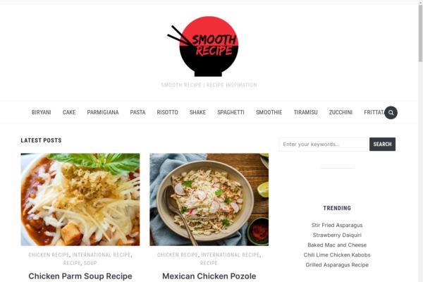 smoothrecipe.com - Smooth Recipe - Blog about international food recipes. 1m views/m, 93% organic