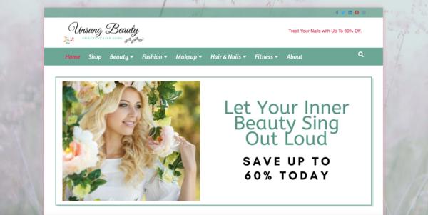 UnsungBeauty.com - Optimized for Fast Loading. Beauty Estore/Blog 100% Autopilot. Just Add Traffic.