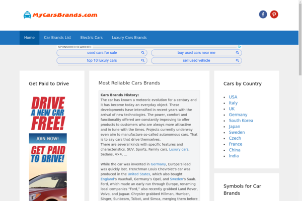 MyCarsBrands.com - Big Cars Database Website, More than 1k articles of content, Organic Traffic