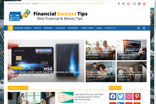 FinancialSuccessTips.com - Financial news & tips - 100% Automated - 1 Year Free Hosting BIN + Great Bonuses