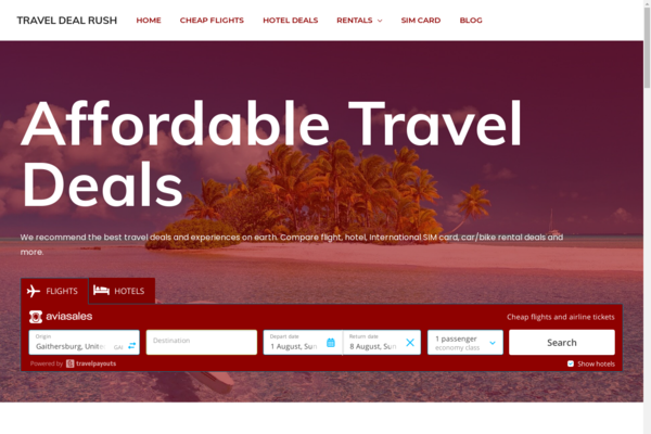 TravelDealRush.com - Travel Website monetized with Affiliate Business. $10K/month earning Potential.