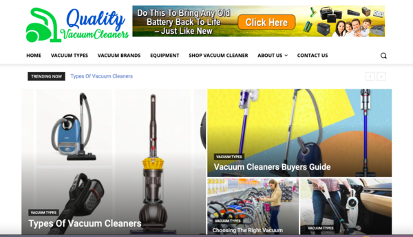 qualityvacuumcleaners.com - Tap Into The MultiBillion Vacuum Cleaners niche With Your Own Ready-to-Go Vacuum Cleaners Information website