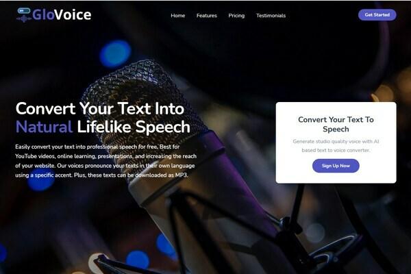 GloVoice.com -  AI Powered SAAS Text To VoiceOver Platform. Newbie Friendly. 78+ Languages