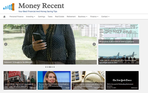 MoneyRecent.com - Finances, Tax, Retirement and Investment - Fully Automated - Amazon & Ad Income