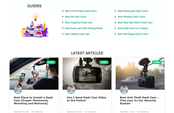 Get Dash Cam - A 1.5-year-old high authority review website in Electronics Niche (dash cam): Generating 1k monthly users and making $100/mo. Low Time Commitment to Operate!