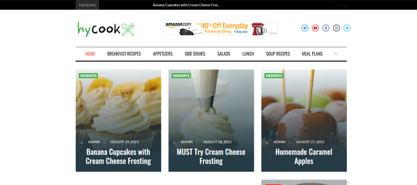 hycook.com - Automated Cooking Blog & News Site For Passive Income, Earn Up To $5k/mo