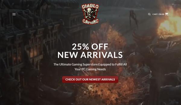 DiabloGamingStore.com -  Premium PC Gaming Video Store - $3500 per month + Training  + Mentorship (BIN)