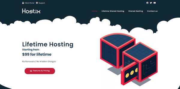 hostiix.com - Very Unique Lifetime Web Hosting Service provider website on Flippa