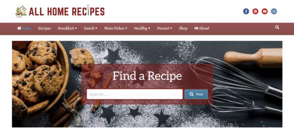 AllHomeRecipes.com - Fast Site - HOT Recipe Niche - Premium Design - 100% Automated, Amazon, Ads +